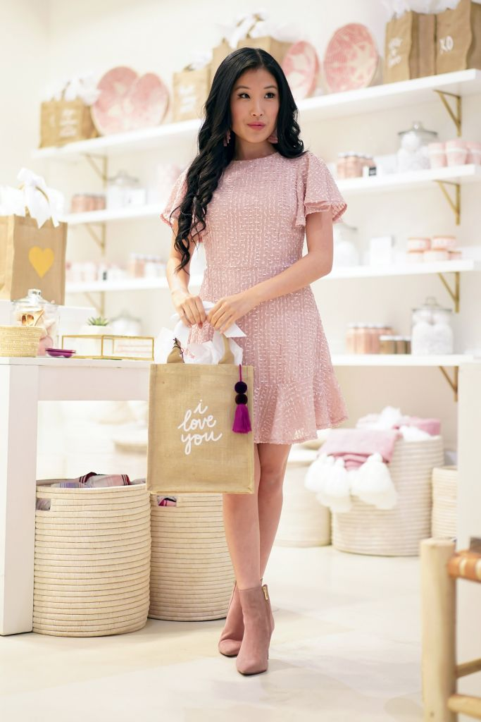 "The Little Market ""I Love You"" Canvas Tote Bag with Selfie Leslie Isabelle Angel Sleeve Empire Blush Dress"