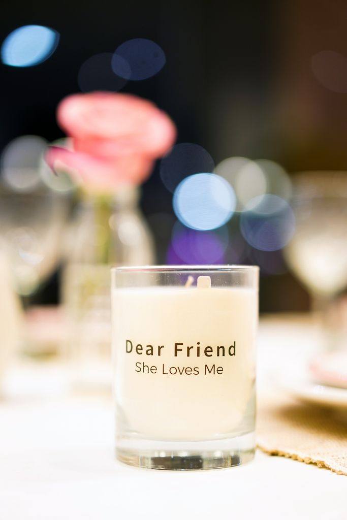 "The Little Market Customized Vanilla Candle with ""Dear Friend, She Loves Me"""