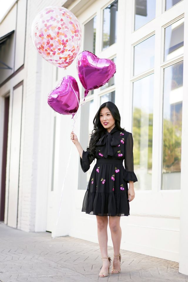 Valentine's Day Kate Spade Sequin Cherry Dress, Heart Balloons, Confetti Heart Balloon by Top Malibu
