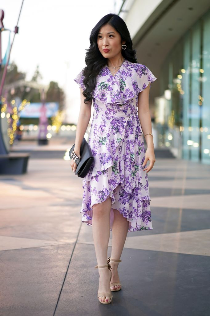 South Coast Repertory Theatre, WAYF Polermo Layered Lavender Floral Wrap Dress and Love Clutch