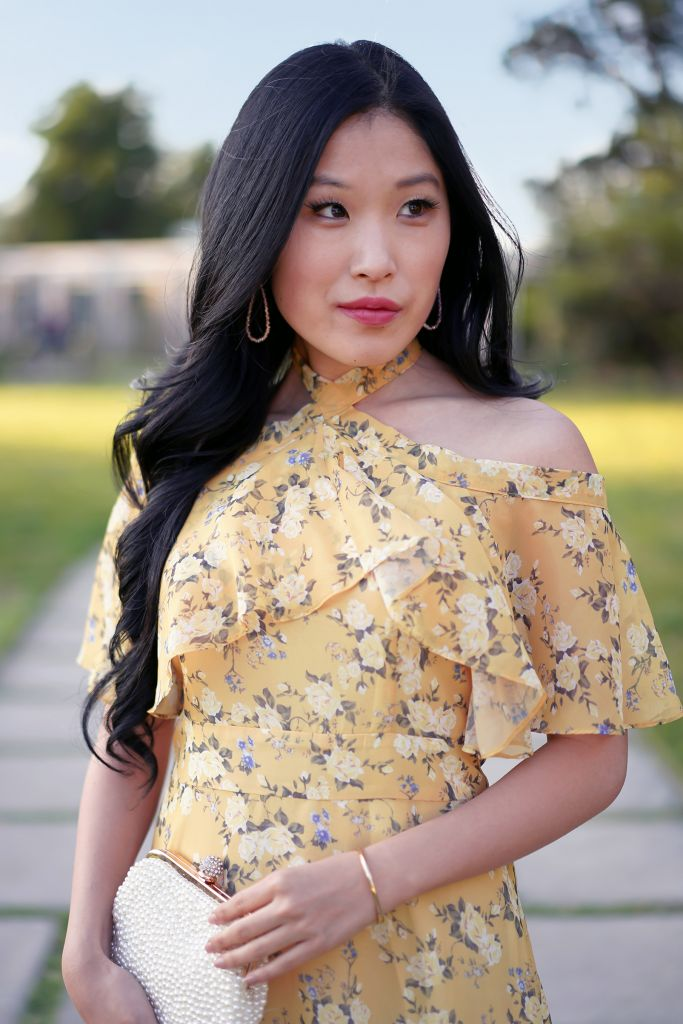 Yellow Halter Tie Floral Dress with Flutter Sleeves, Chicwish Dress, Emma Jane Austen movie inspired