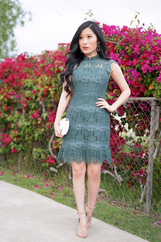 Francesca's Raye All Over Lace Green Dress, Farin White Beaded Flower Clutch