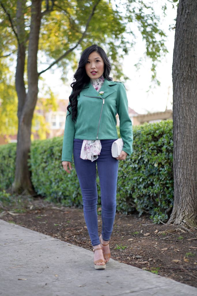 Green Moto Jacket by Lauren Conrad, Michael Kors Jill Acorn Wedge Sandals