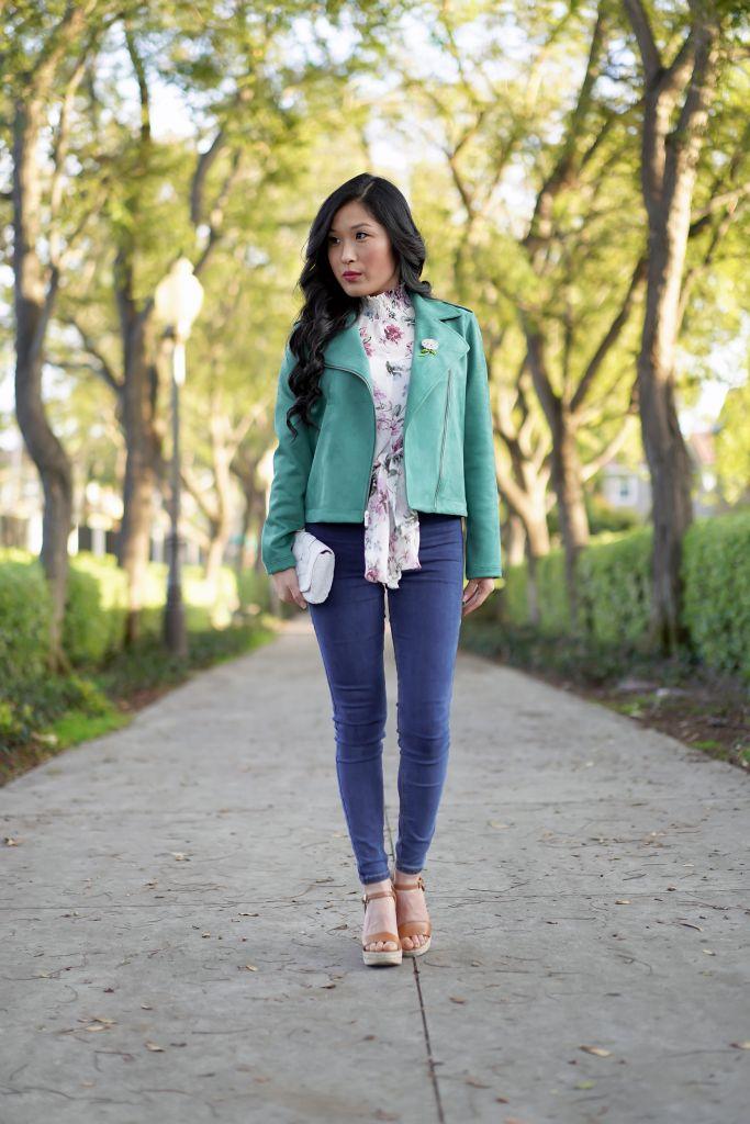 Lauren Conrad Green Moto Jacket, Michael Kors Jill Wedge Sandal in Acorn, Olivaceous Floral Front Tie Top, Anthropologie Flower Beaded Clutch