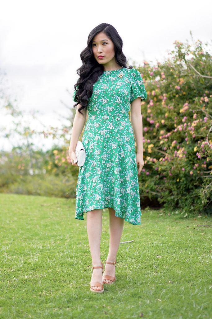 LOFT Petite Buttercup Puff Sleeve Flounce Dynamic Green Dress, Anthropologie Farin White Floral Dress, Daisy Pin