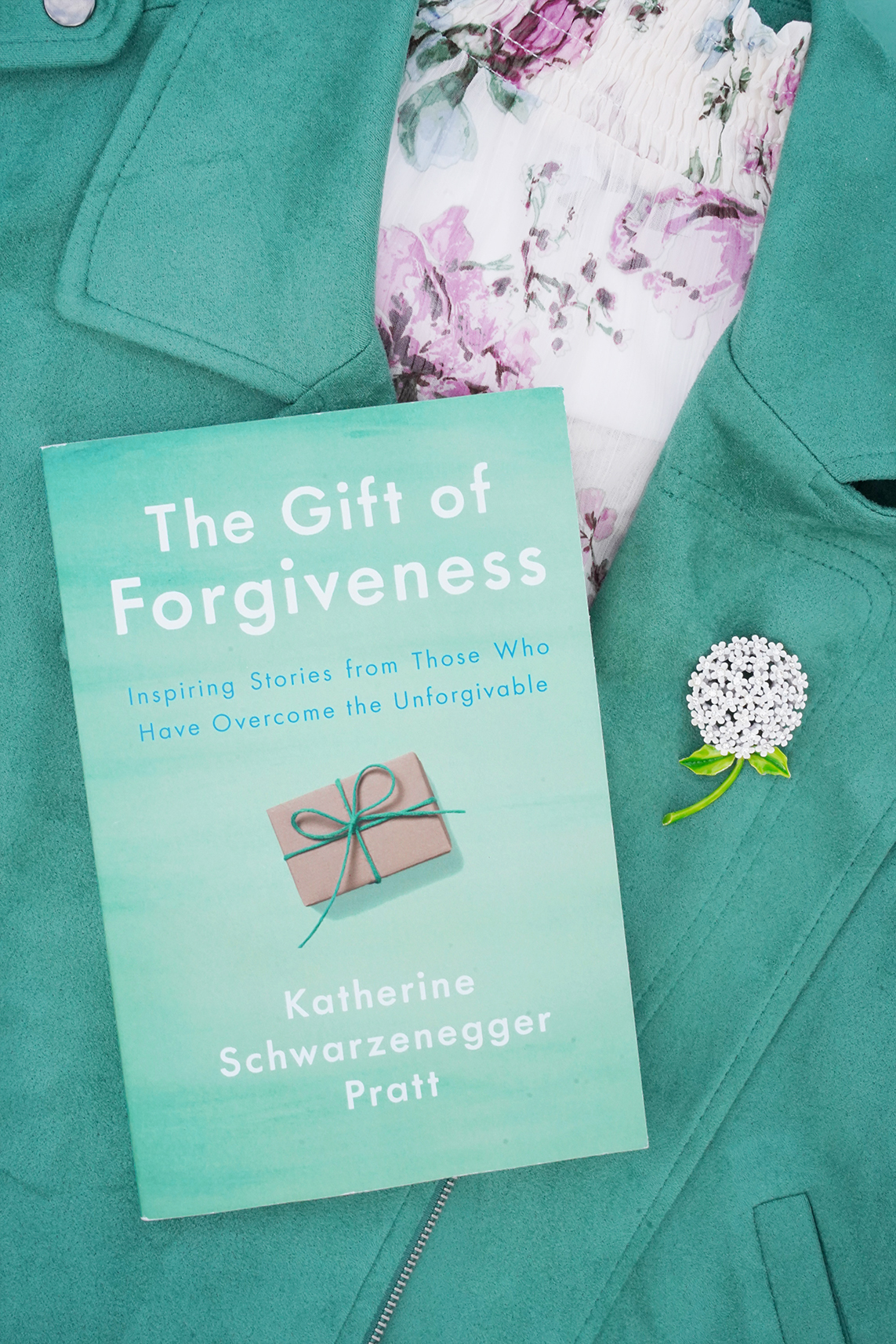 The Gift of Forgiveness Inspiring Stories from Those Who Have Overcome the Unforgivable Book by Katherine Schwarzenegger, Green Moto Jacket by Lauren Conrad, Weiss Flower Cluster Antique Rhinestone Pin Brooch