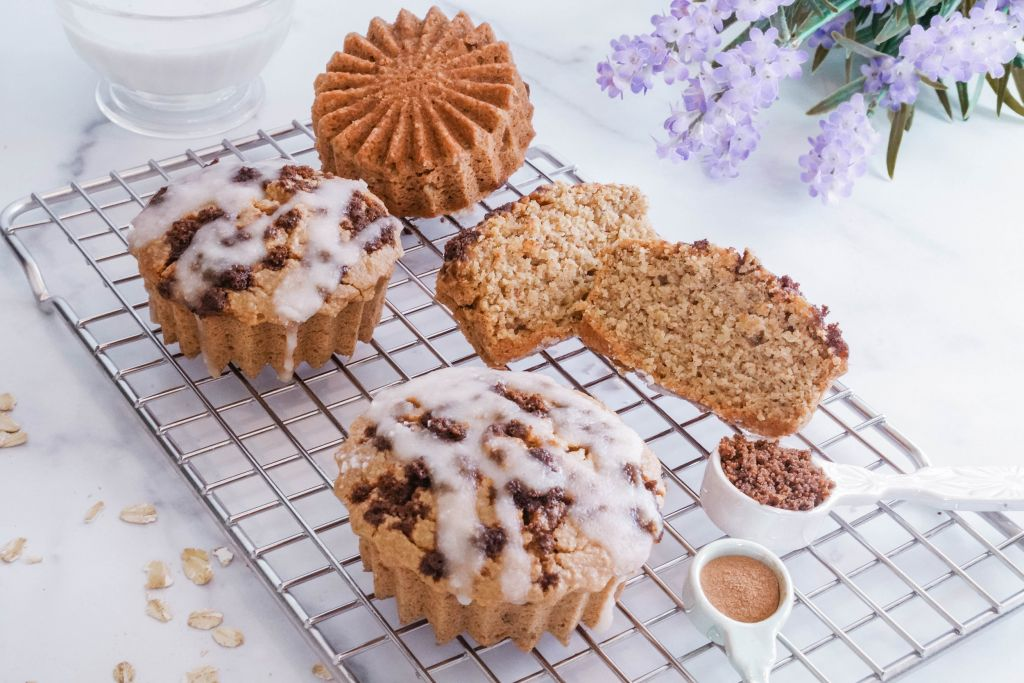 Rachel Mansfield Gluten-Free Cinnabon Cinnamon Roll Cake with Coconut Glaze