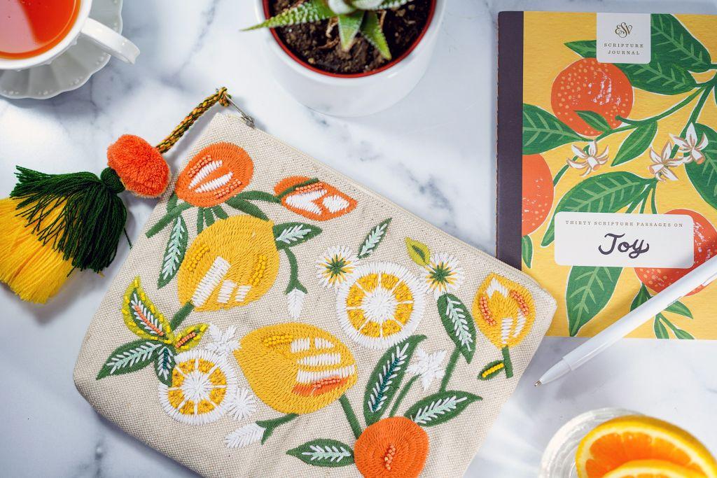 Francesca's Hilda Embridered Citrus Orange Lemon Clutch Pouch with tassel, Joy ESV Orange Citrus Scripture Lined Journal