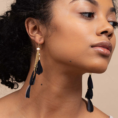 uncommon-james-black-swan-gold-feather-earrings