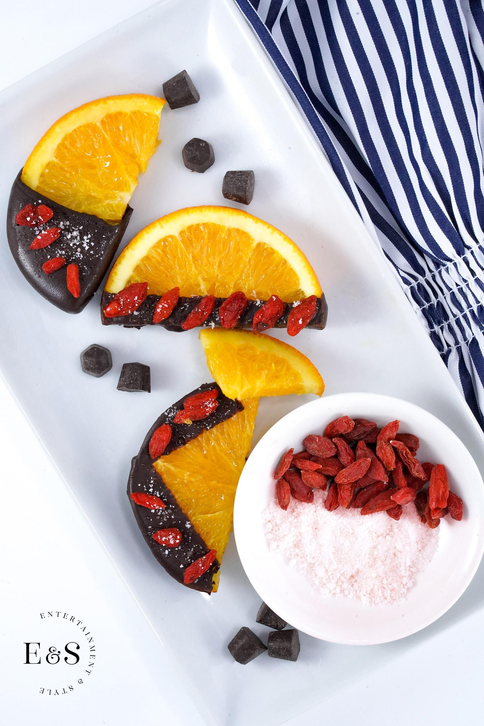 Dark Chocolate Dipped Orange Slices with Goji Berries
