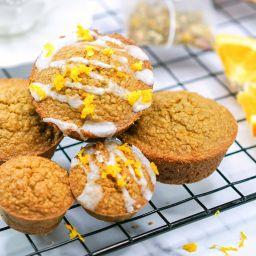 Easy Orange Muffins Recipe (Vegan, Gluten Free, Dairy-Free) with orange zest and glaze
