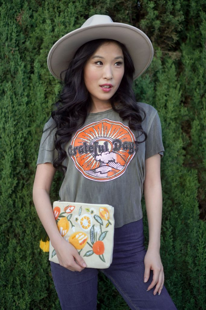Francescas Grateful Days Top with Anthro Rancher Trimmed Blush Hat, Citrus Clutch