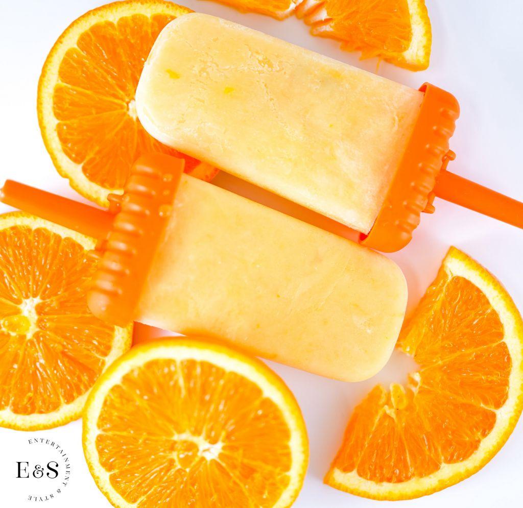 Orange Julius Popsicles (vegan, gluten-free) with sliced oranges