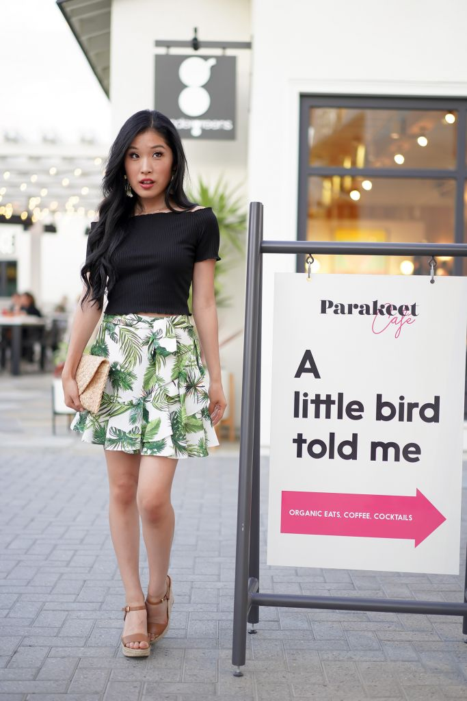 """Parakeet Cage Sign at Del Mar location pointing the way """"A little bird told me"""""""