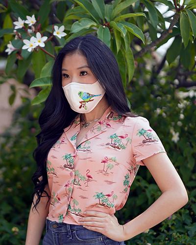Yumi Chen Pink Parakeet Face Mask, Pink Palm Tree top