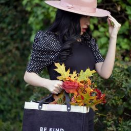 Gigi Pip Monroe Rancher Hat in Dusty Pink, Pink hat, Ann Taylor Puff Sleeve Dotted Top, Apolis Market Bag in black
