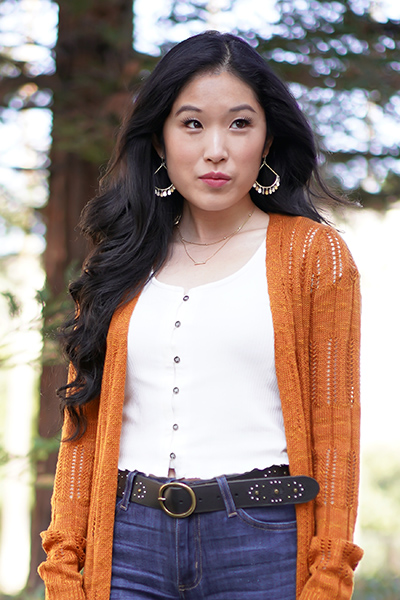 Kendra Scott Sydney Charm Drop Earrings in Mixed Metal, Hooked up by IOT Juniors' Textured Button-Front Cardigan in Pumpkin Spice, Lucky Brand Studded Belt