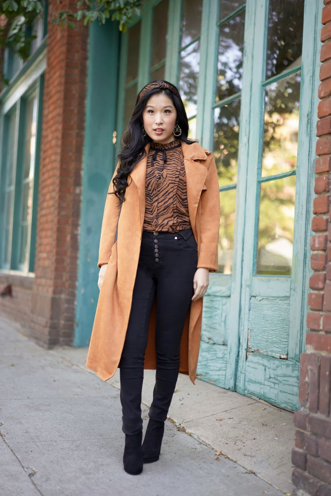 Fall Look with Faux Suede Duster and Tiger Print Blouse and Tiger Print Headband