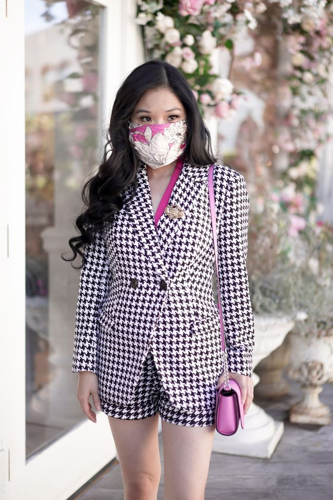 Emily In Paris Inspired Blazer and Shorts - Houndstooth Blazer and Houndstooth shorts, Kate Spade Cameron Small Flap Crossbody in bright pink, Johnny Was Pink Mask