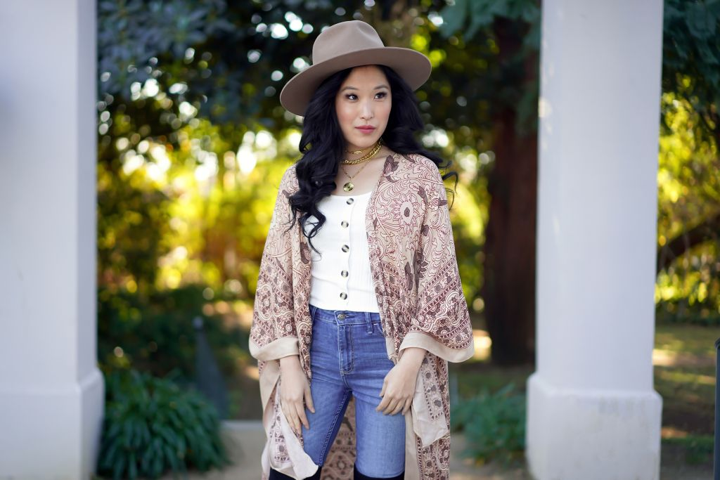 Free People Magic Print Kimono in Nude, Uncommon James Gold necklaces, Gigi Pip Miller Fedora in Brown