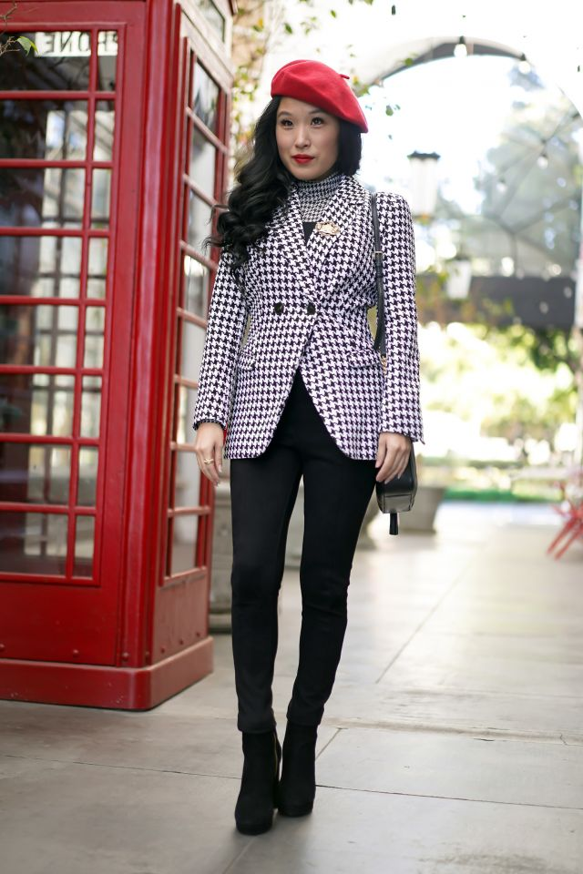 Emily In Paris - Lily Collins Inspired Fashion and Style with White House Black Market houndstooth mesh turtleneck, black bustier, red beret, Vintage pin