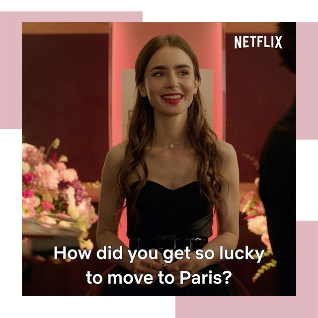 "Emily In Paris - ""How did you get so lucky to move to Paris?"" Quote Image with red lip, pearl necklace and black bustier"