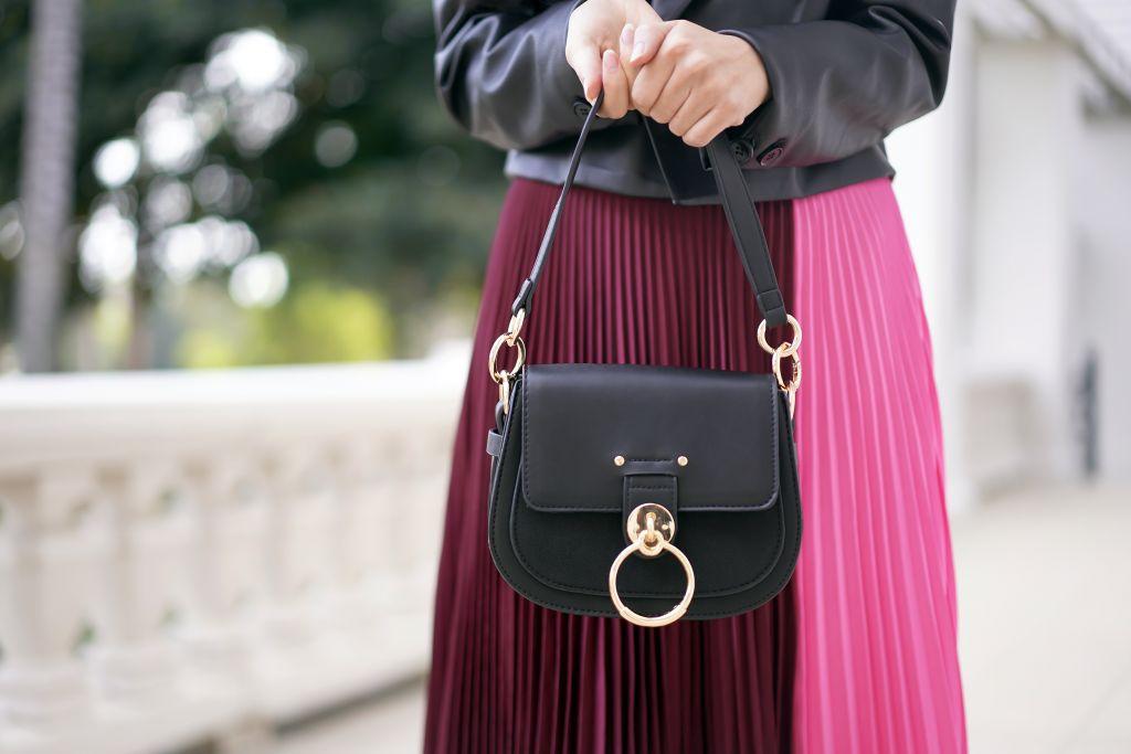 Francesca's Riah O Ring Crossbody in BlackA.L.C. Pleated Colorblock Midi Skirt