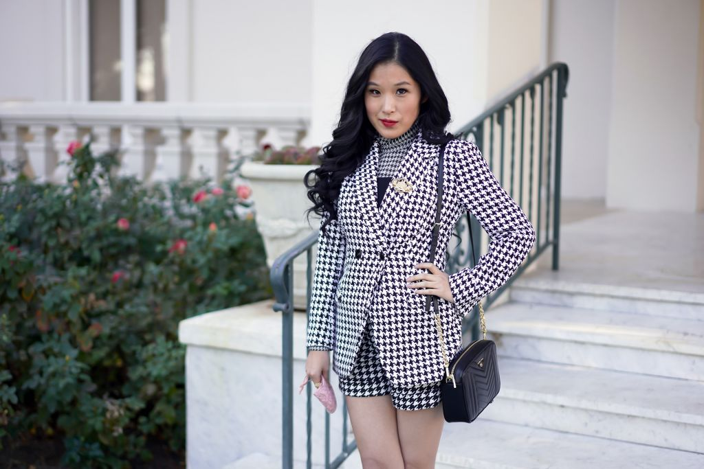 Emily In Paris Inspired Blazer and Shorts - Houndstooth Blazer and Houndstooth shorts, MICHAEL MICHAEL KORS Jet Set Medium Quilted Leather Camera Bag