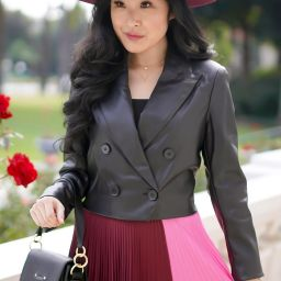 A.L.C. Pleated Colorblock Midi Skirt, Lucy Paris Croped Jacket, Burgundy Rancher Hat
