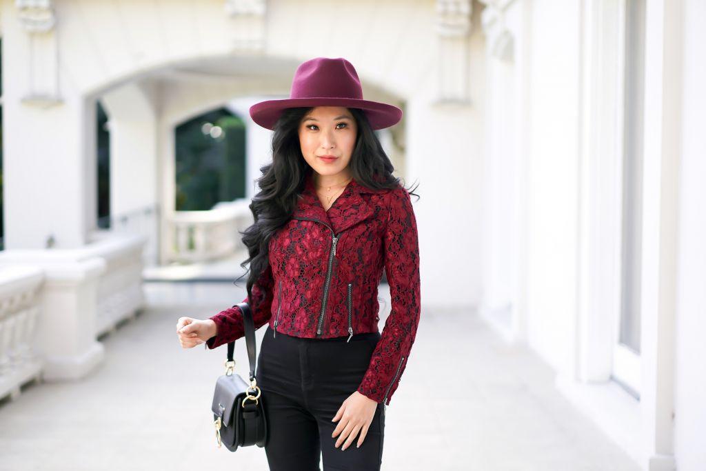WHBM Lace Moto Burgundy Jacket, Burgundy Rancher Hat