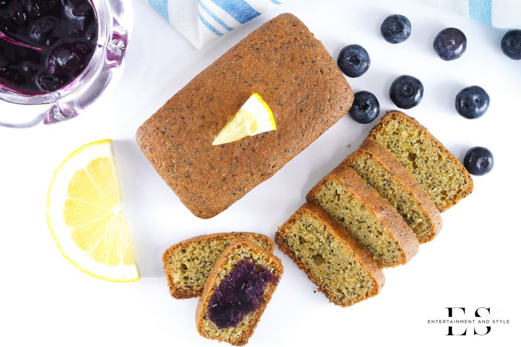 Lemon Poppyseed Bread Mini Loaves with Blueberry Compote - Gluten Free and Dairy Free