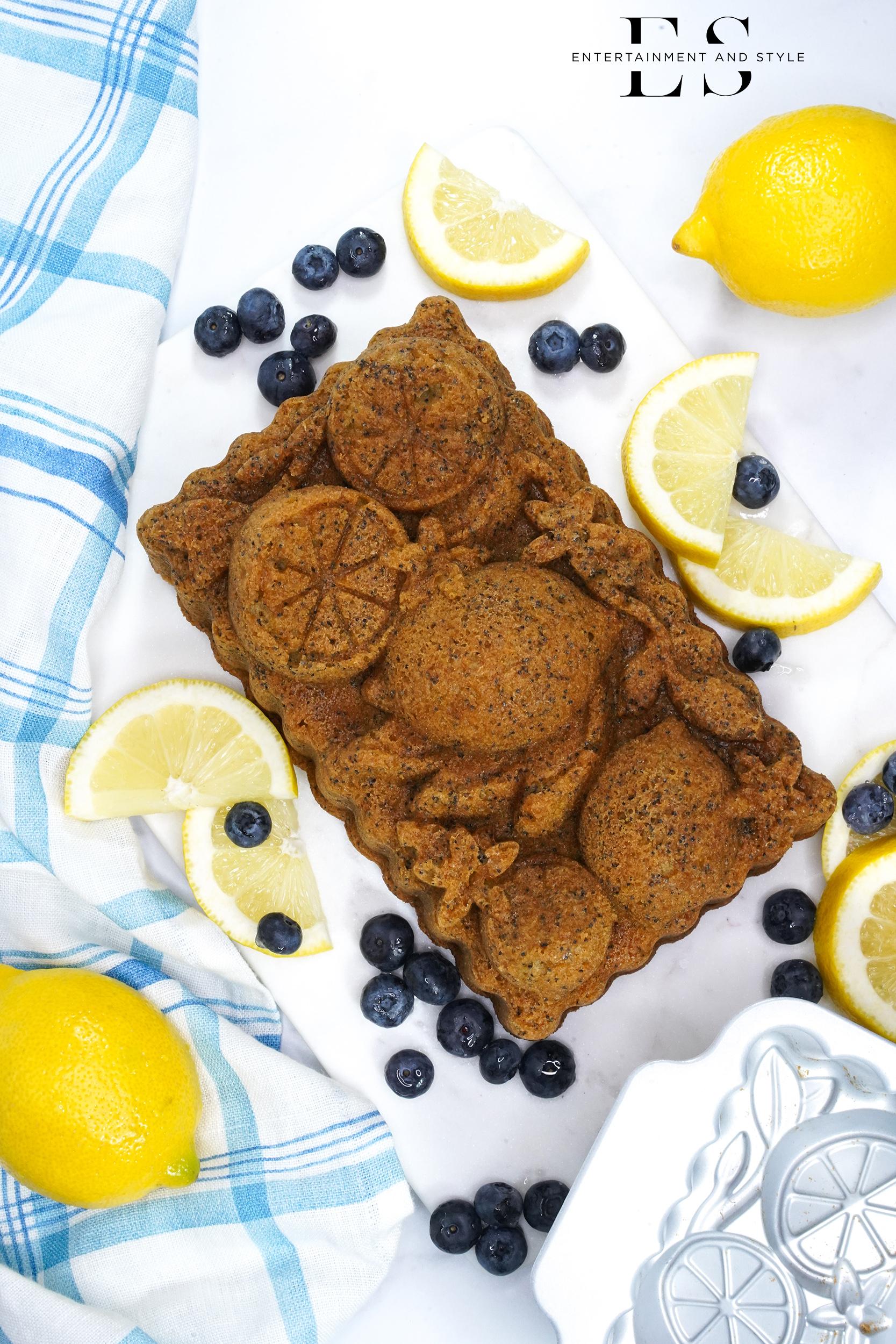 Lemon Poppyseed Bread made in lemon loaf